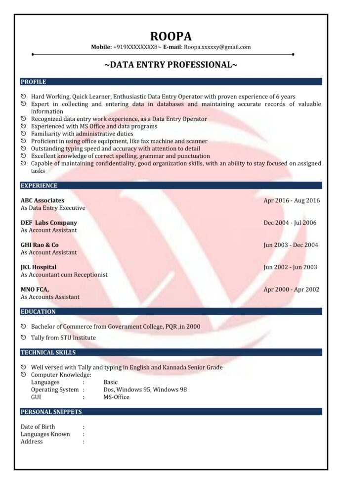 data entry sample resumes resume format templates computer operator harvard for science Resume Computer Operator Resume Sample