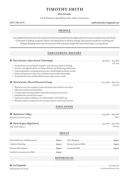 data scientist resume examples writing tips free guide io customer service overview hse Resume Scientist Resume Examples