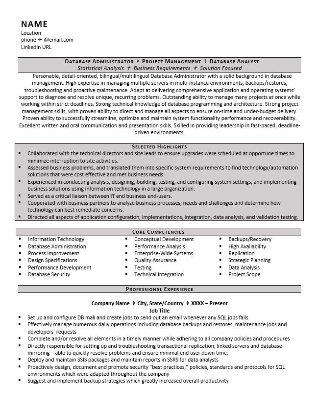 database administrator resume example tips sample highlights of qualifications on Resume Cloud Administrator Resume Sample