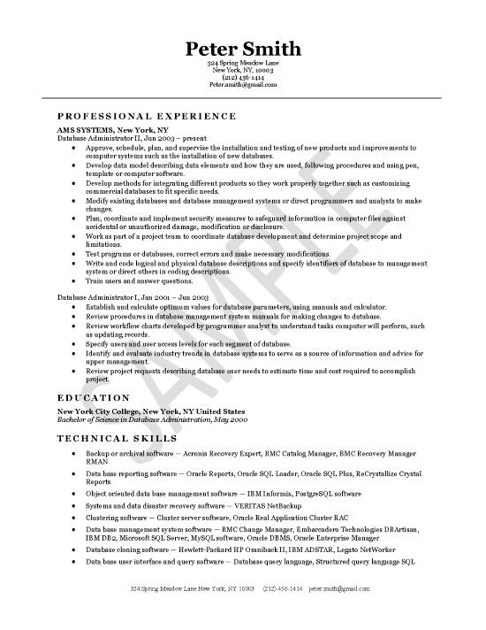 database administrator resume examples project manager cover letter for oracle years Resume Oracle Dba Resume For 2 Years