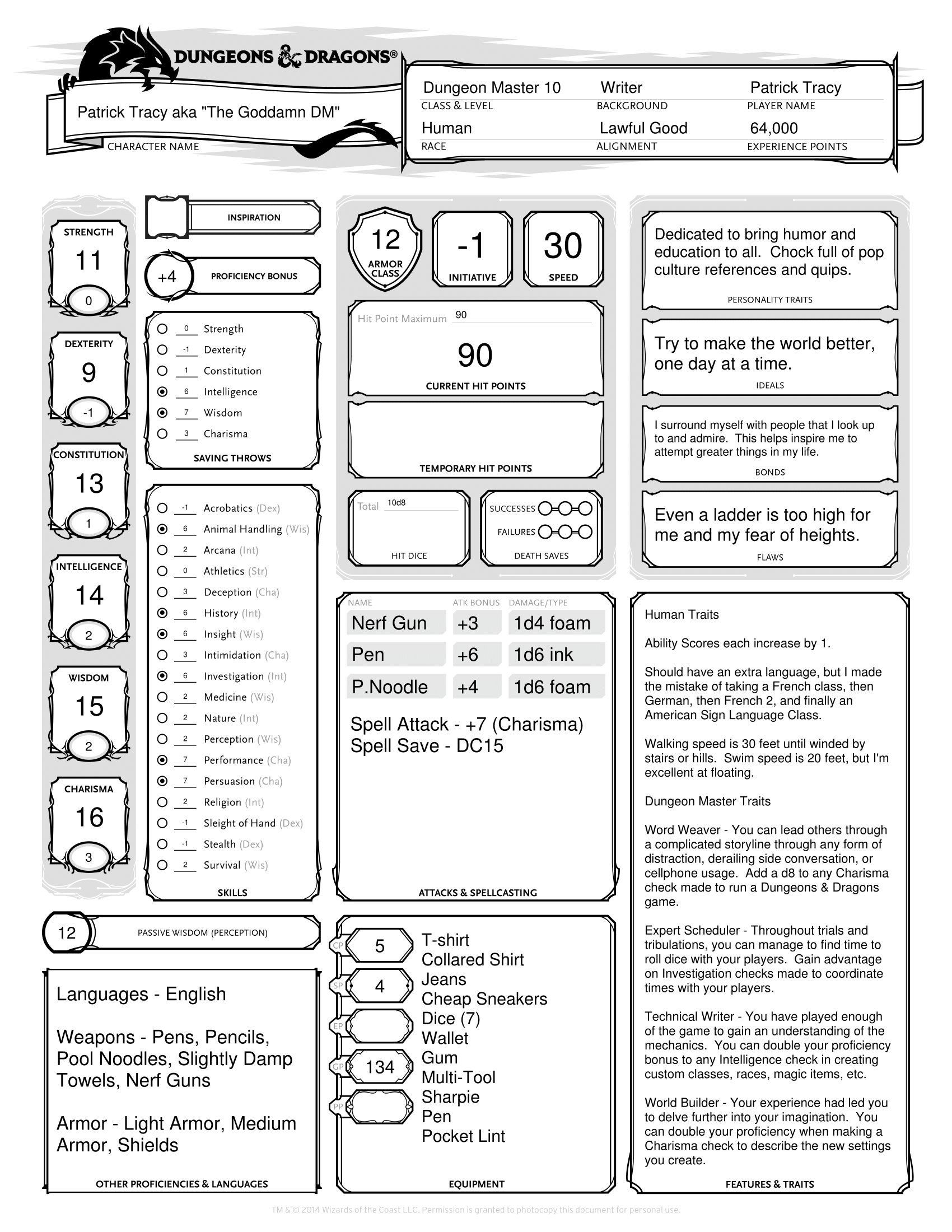 decided to apply for game designer job in fun way album on imgur character sheet resume Resume D&d Character Sheet Resume