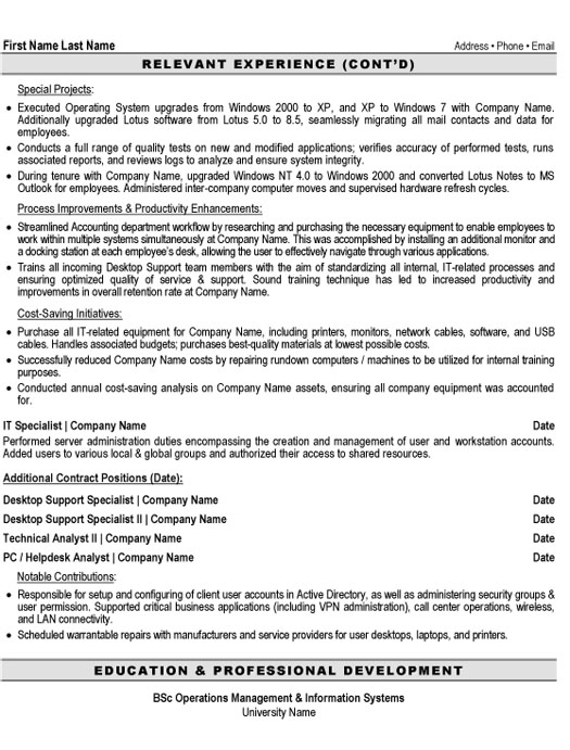 desktop support specialist resume sample template technical p2 duties for cashier Resume Technical Support Specialist Resume
