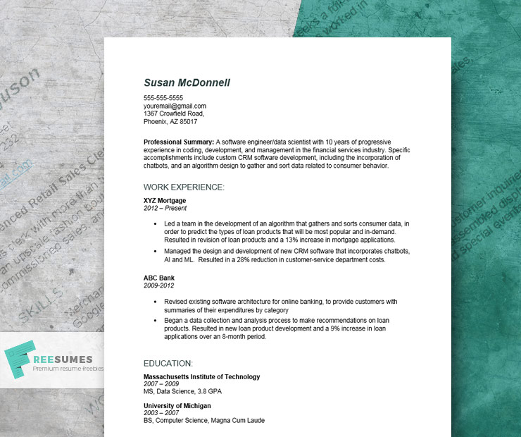detailed resume example for engineering positions freesumes financial services summary Resume Financial Services Resume Summary