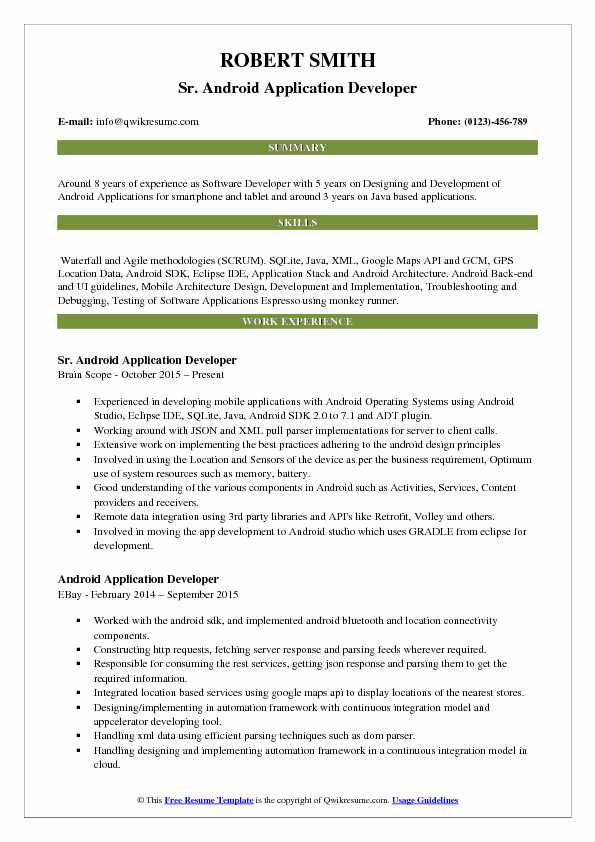 developer resume samples examples and tips headline or summary on android application pdf Resume Headline Or Summary On Resume