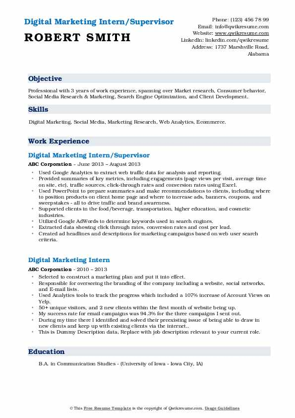 digital marketing intern resume samples qwikresume skills pdf for administrative position Resume Marketing Intern Skills Resume