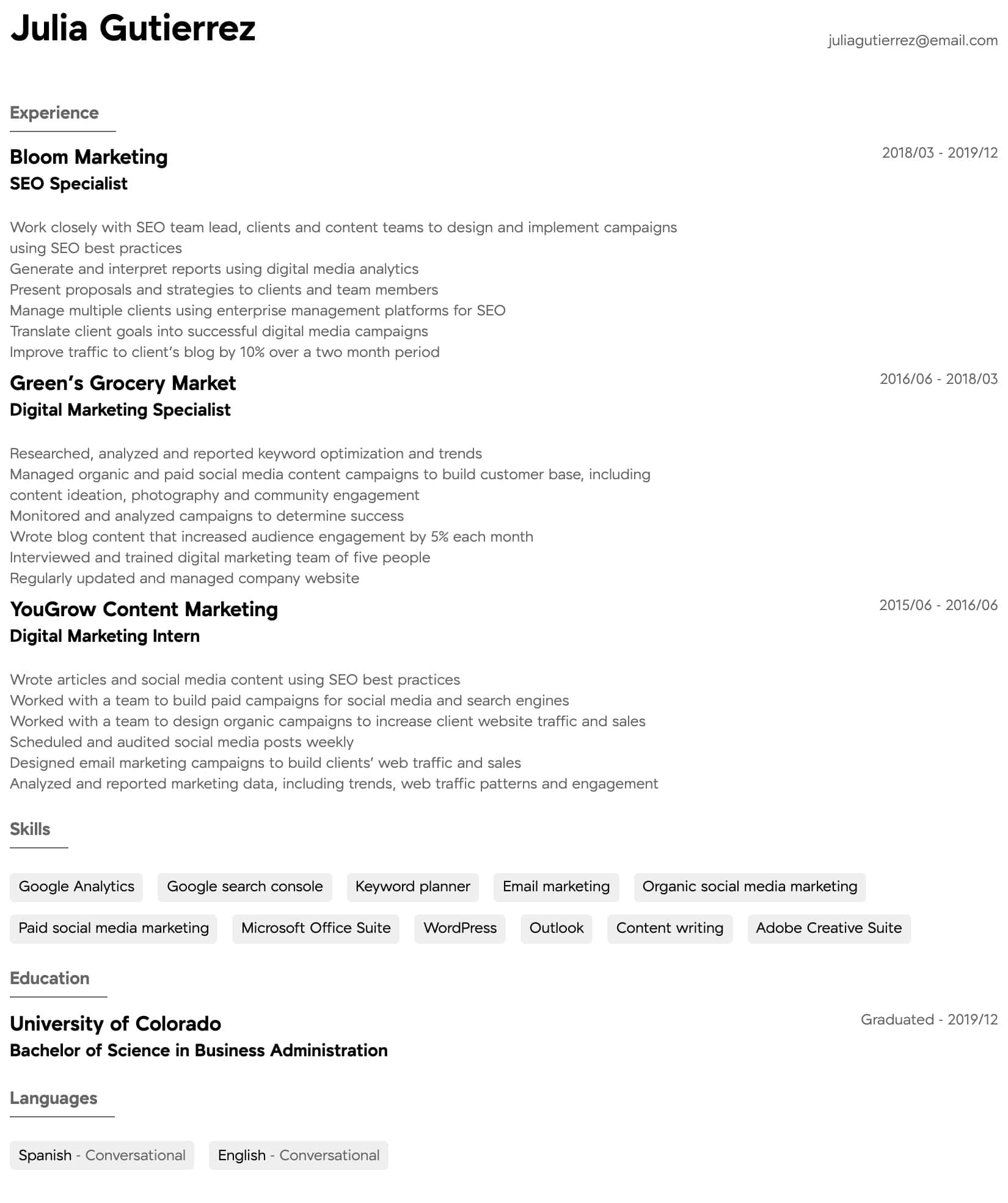 digital marketing resume samples all experience levels template intermediate layout Resume Marketing Resume Template