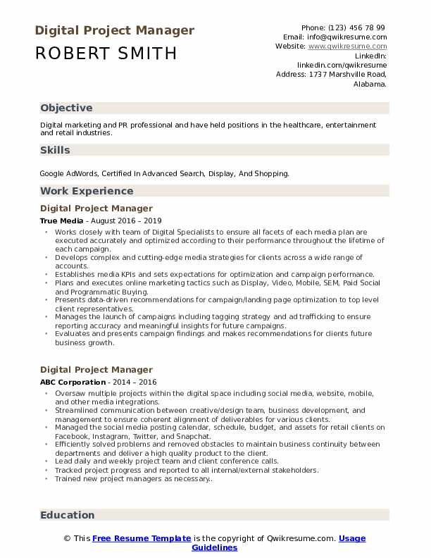digital project manager resume samples qwikresume objective for pdf account executive Resume Objective For Resume Project Manager