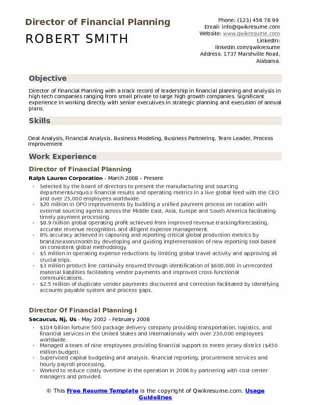 director of financial planning resume samples qwikresume analysis pdf culinary arts Resume Financial Planning & Analysis Resume