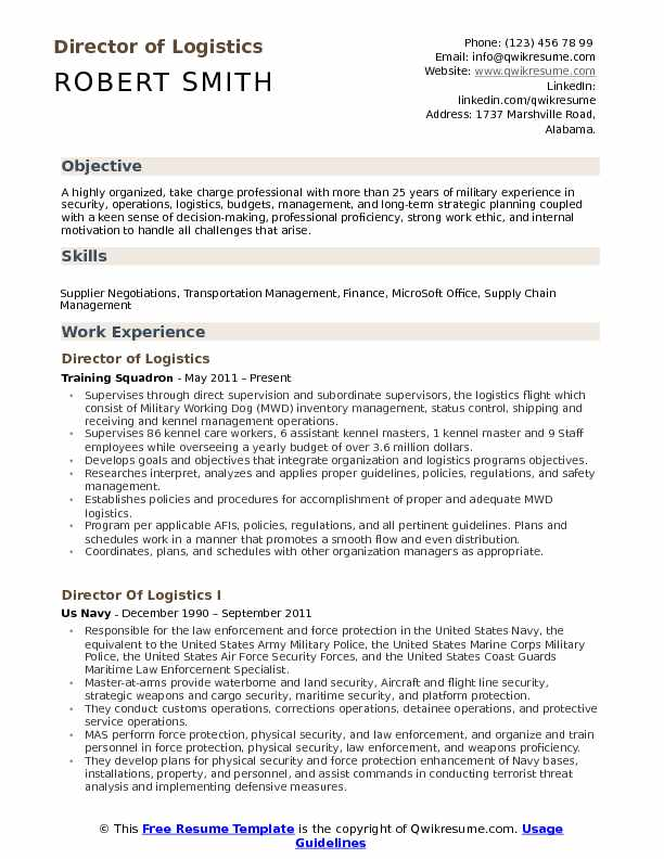 director of logistics resume samples qwikresume examples pdf hospitality management Resume Logistics Resume Examples