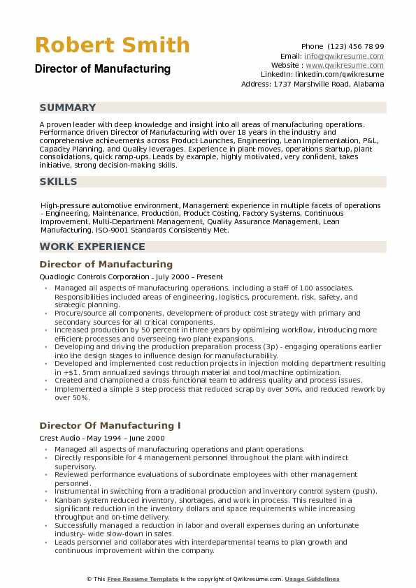 director of manufacturing resume samples qwikresume objective pdf welder examples Resume Manufacturing Resume Objective
