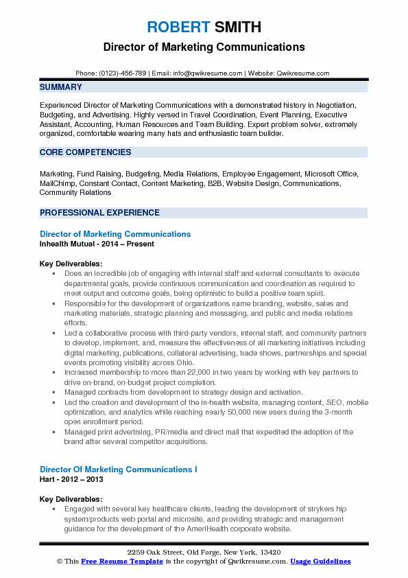 director of marketing communications resume samples qwikresume vp pdf table contents Resume Vp Communications Resume