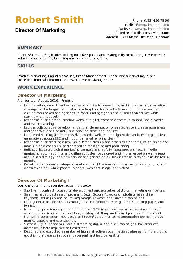 director of marketing resume samples qwikresume template pdf lead synonym electrical Resume Marketing Resume Template