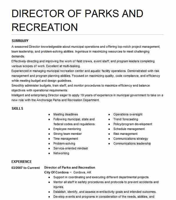 director of parks and recreation resume example city lose the land job review millennial Resume Recreation Director Resume