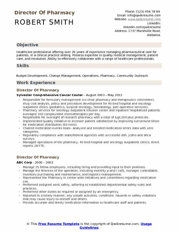 director of pharmacy resume samples qwikresume pharmacist example pdf business management Resume Pharmacist Resume Example