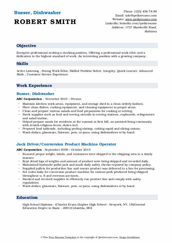 dishwasher resume samples qwikresume experience pdf template for iphone college lecturer Resume Dishwasher Experience Resume