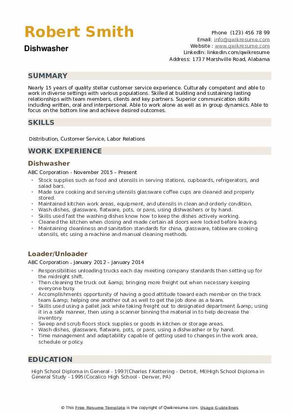 dishwasher resume samples qwikresume experience pdf template for iphone should you lie on Resume Dishwasher Experience Resume