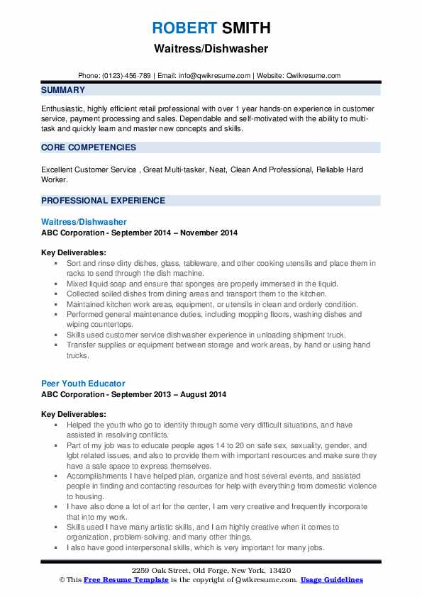 dishwasher resume samples qwikresume experience pdf word templates format for cts company Resume Dishwasher Experience Resume