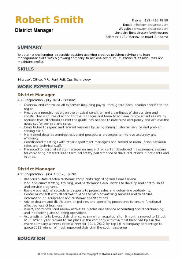district manager resume samples qwikresume skills pdf contact details on production Resume District Manager Skills Resume