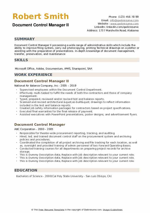 document control manager resume samples qwikresume sample pdf hobbies for engineers Resume Document Control Manager Resume Sample