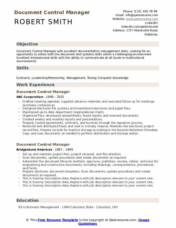 document control manager resume samples qwikresume sample pdf standard template best for Resume Document Control Manager Resume Sample
