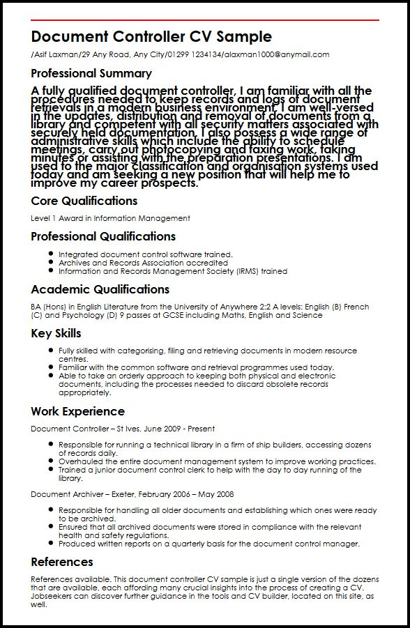 document controller cv example myperfectcv control manager resume sample linkedin review Resume Document Control Manager Resume Sample