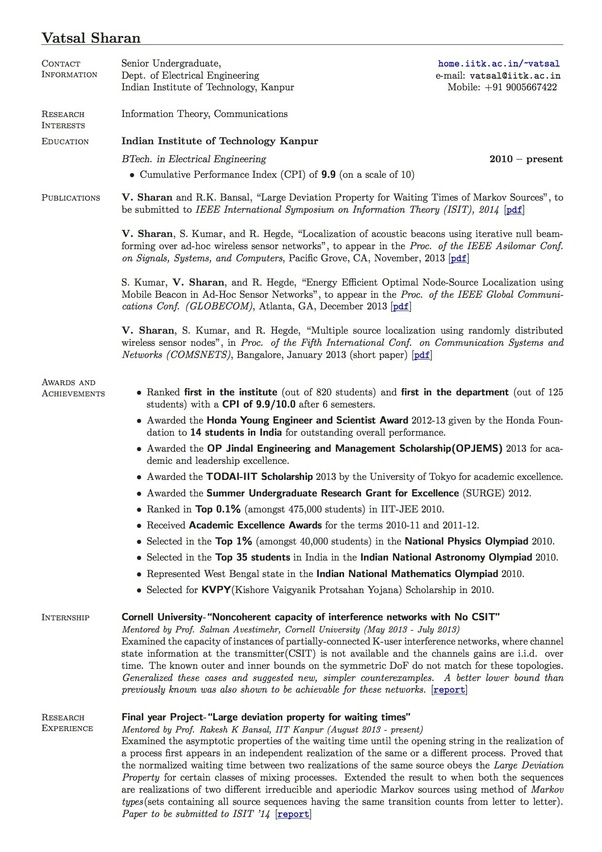 does the resume of someone attended an iit look like is there anything special about Resume Iit Madras Resume Template