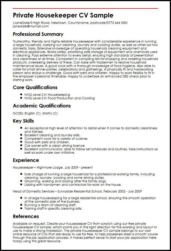 domestic cleaner cv example myperfectcv sample resume for housekeeping position private Resume Sample Resume For A Housekeeping Position