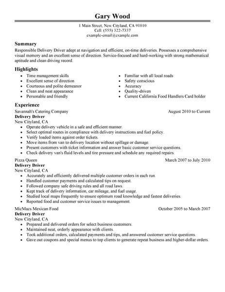 driver resume template for microsoft word livecareer package delivery food restaurant Resume Package Delivery Driver Resume