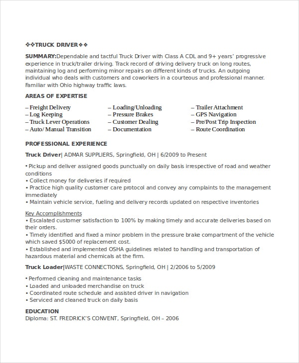 driver resume template free word pdf document downloads premium templates package Resume Package Delivery Driver Resume