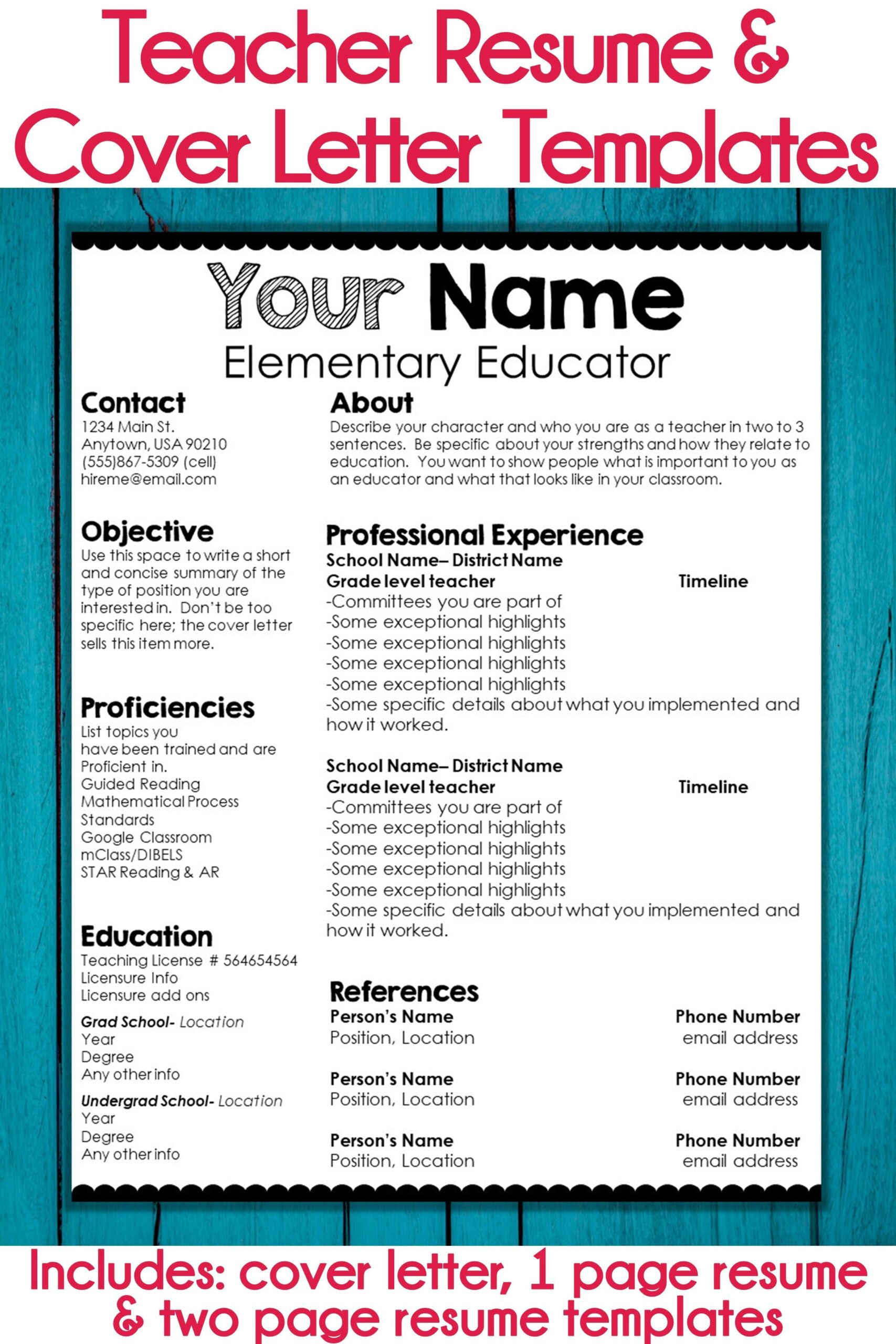 editable teacher resume and cover letter template scalloped examples free communication Resume Editable Teacher Resume Template Free
