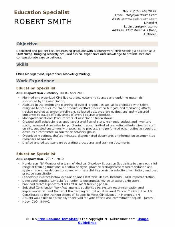 education specialist resume samples qwikresume experience pdf personal care assistant Resume Education Experience Resume