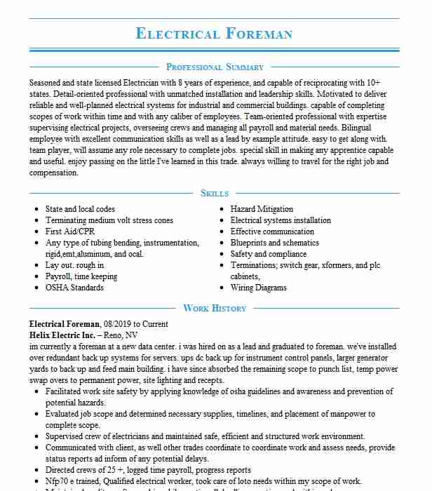 electrical foreman resume example dp electric goodyear electrician gaffer cna for Resume Electrician Foreman Resume