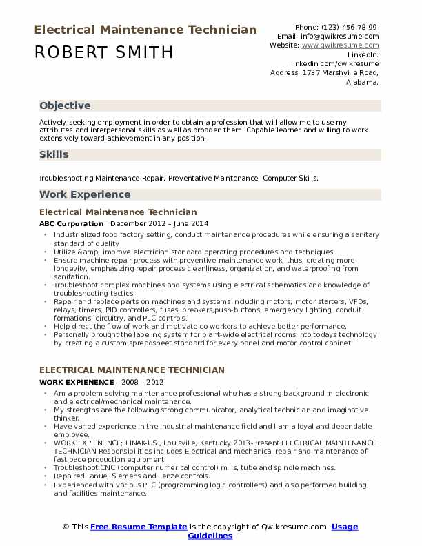 electrical maintenance technician resume samples qwikresume apartment summary pdf boss Resume Apartment Maintenance Technician Resume Summary