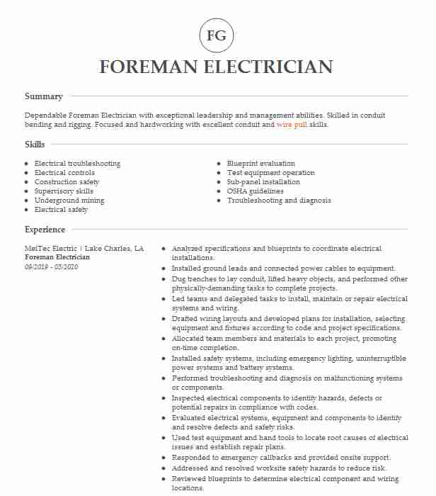 electrician foreman resume example electrical construction llc good heading for job Resume Electrician Foreman Resume
