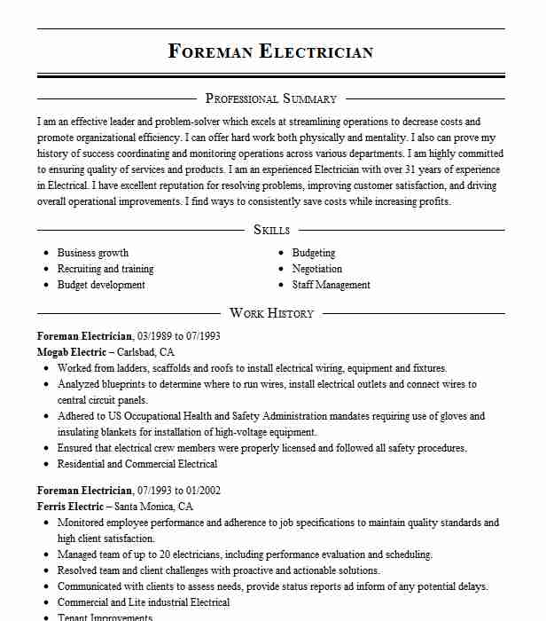 electrician foreman resume example electrical construction llc hrm skills and abilities Resume Electrician Foreman Resume