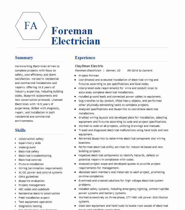 electrician foreman resume example electrical construction llc language skills hrm and Resume Electrician Foreman Resume