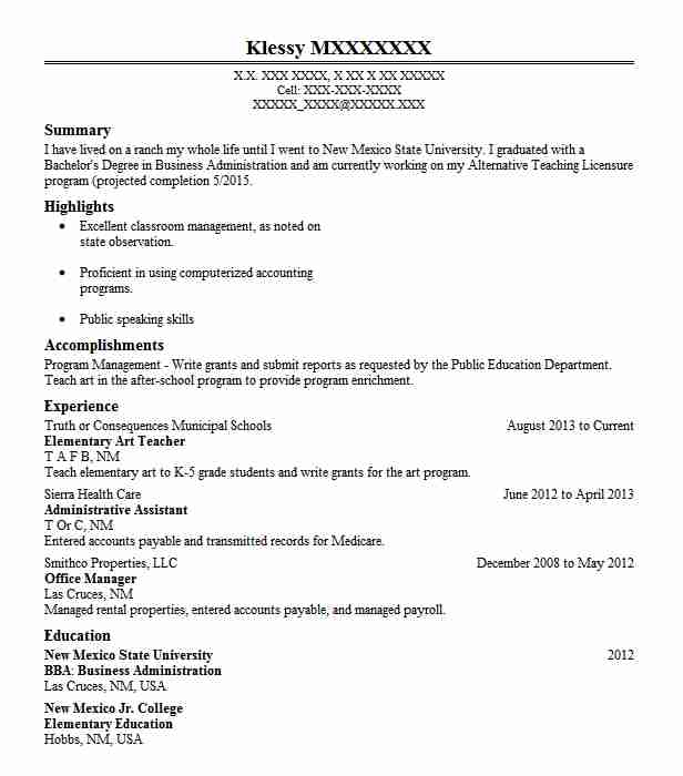 elementary art teacher resume example resumes livecareer education examples material Resume Art Education Resume Examples