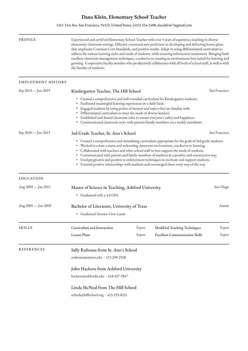 elementary school teacher resume examples writing tips free guide io candidate for Resume Candidate For Masters Degree Resume