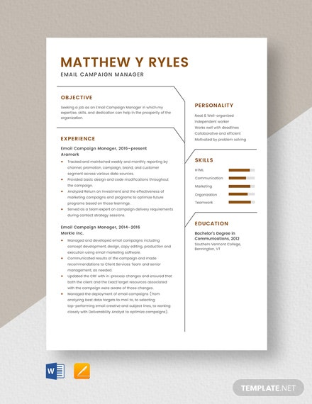 email campaign manager resume cv template word apple mac physical therapy student front Resume Campaign Manager Resume