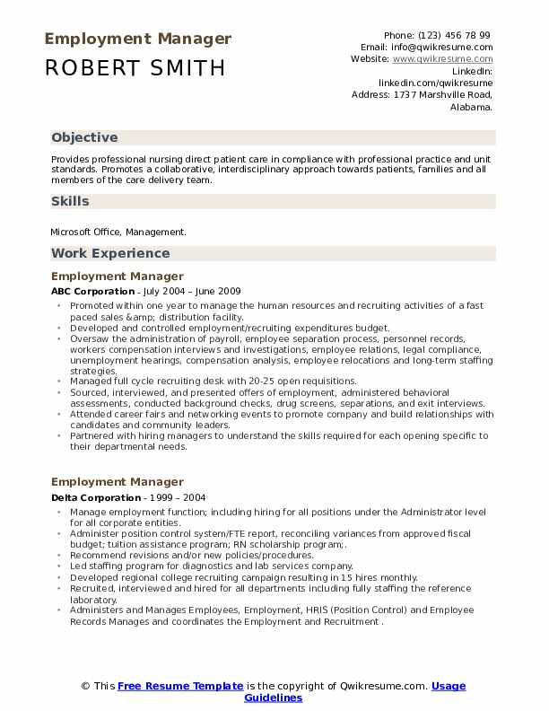 employment manager resume samples qwikresume reentering the workforce after absence pdf Resume Reentering The Workforce After A Long Absence Resume