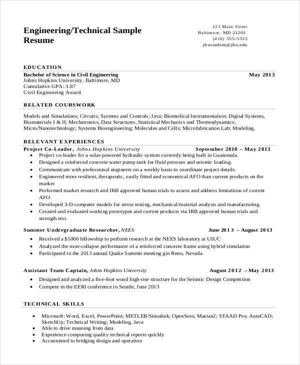 engineering resume templates pdf free premium format technical business analyst examples Resume Engineering Resume Format