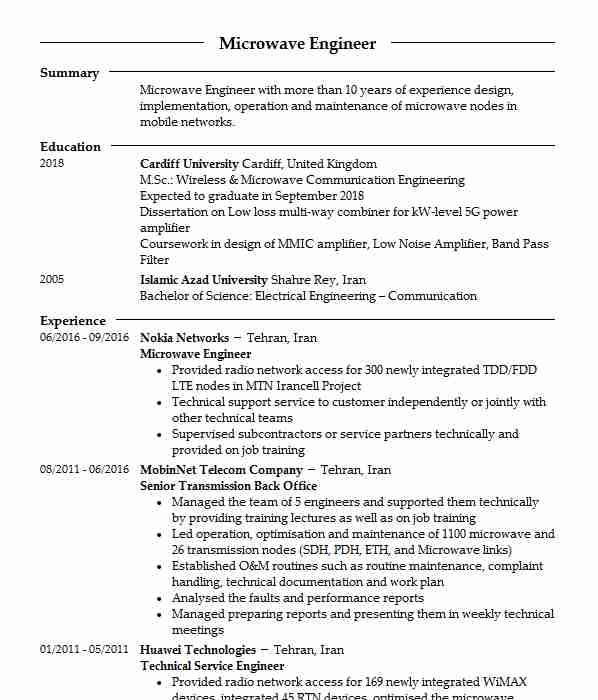 engineers cv examples telecommunications and wireless cvs livecareer communication Resume Communication Engineer Resume