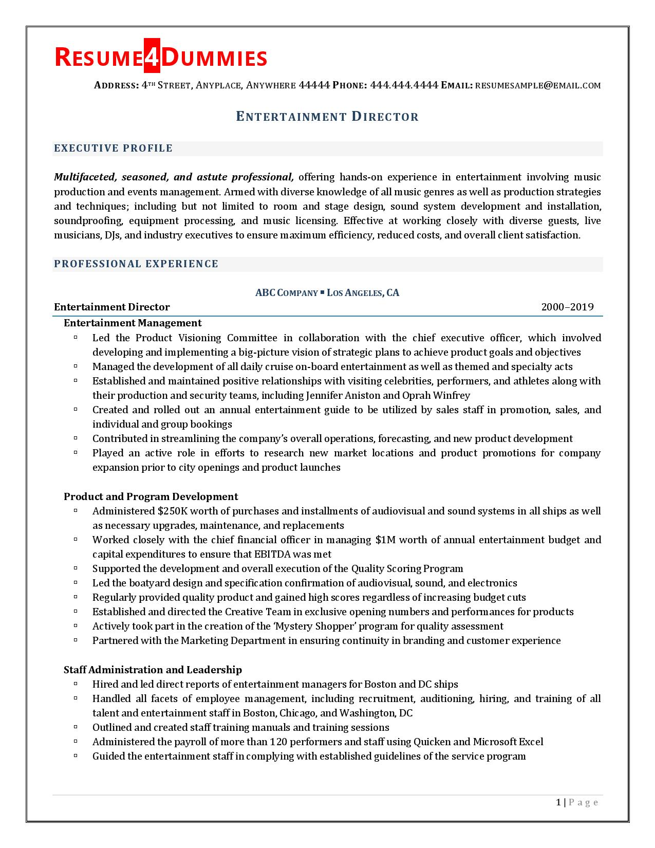 entertainment director resume examples sample email containing cover letter and Resume Entertainment Resume Examples