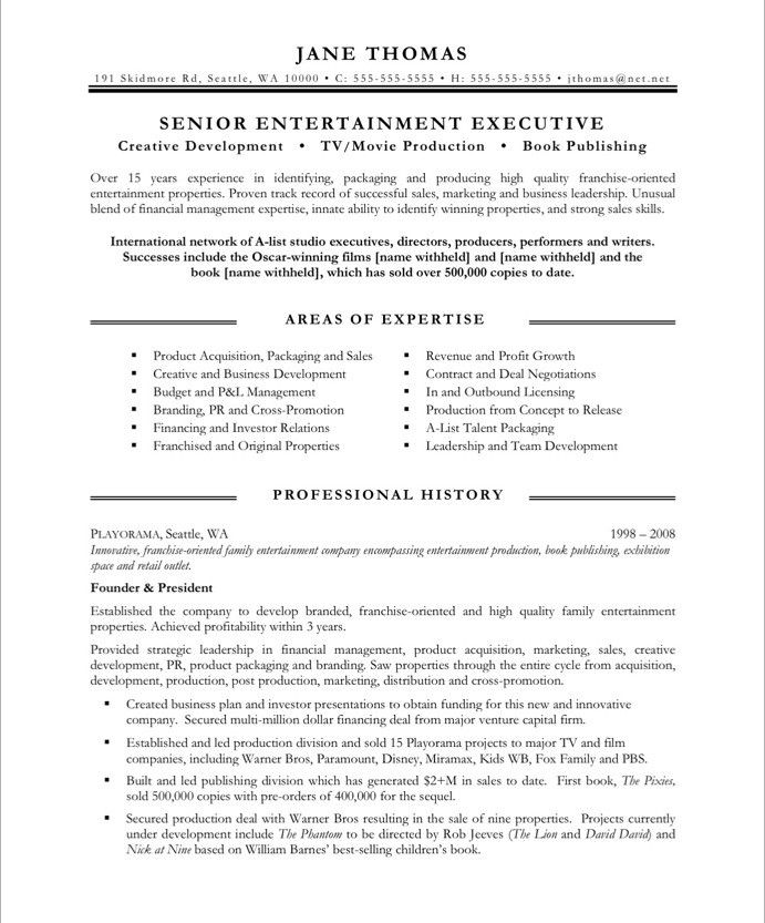 entertainment executive page1 resume free samples tips examples obama bio cdl skills Resume Entertainment Resume Examples