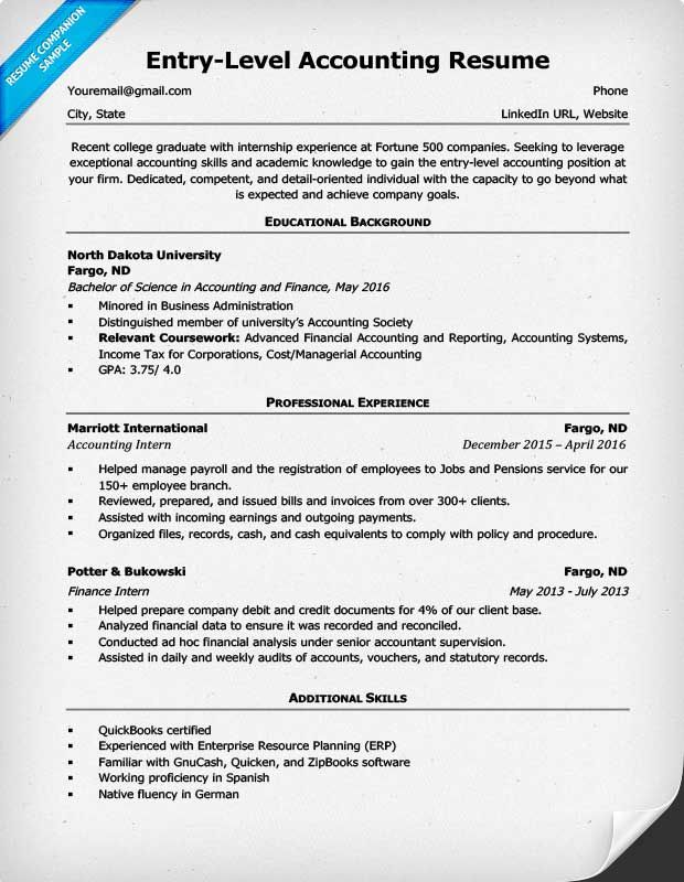 entry level accounting resume example accountant objective internship job description for Resume Accountant Job Description For Resume