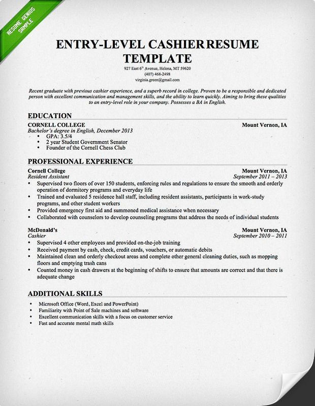 entry level cashier resume sample genius examples retail job template writing for Resume Cashier Job Resume Examples