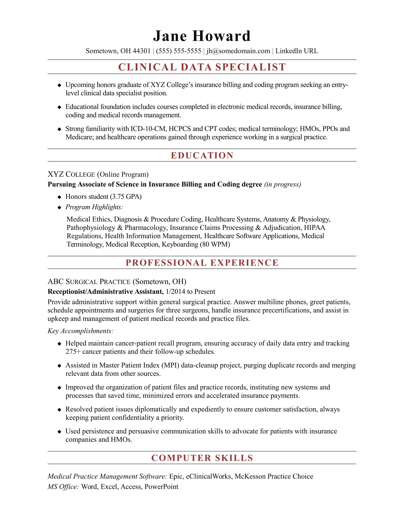entry level clinical data specialist resume sample monster claims adjudicator process Resume Claims Adjudicator Resume Sample