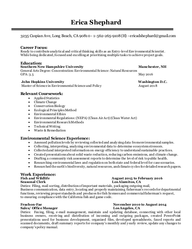 entry level environmental scientist resume forensic science entrylevel activities Resume Forensic Science Resume