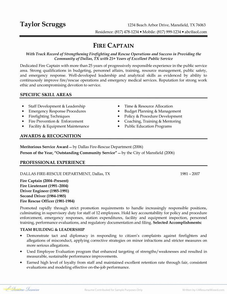 entry level firefighter resume awesome objective statement job samples examples example Resume Firefighter Resume Example Entry Level