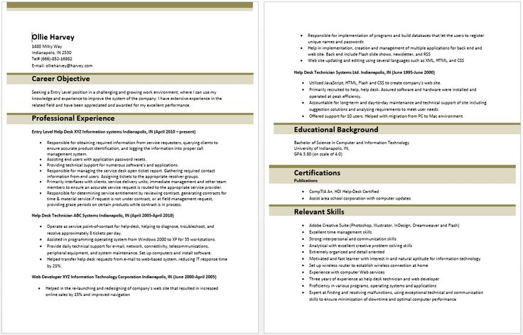 entry level it information technology resume sample template templates examples Resume Entry Level Information Technology Resume Examples